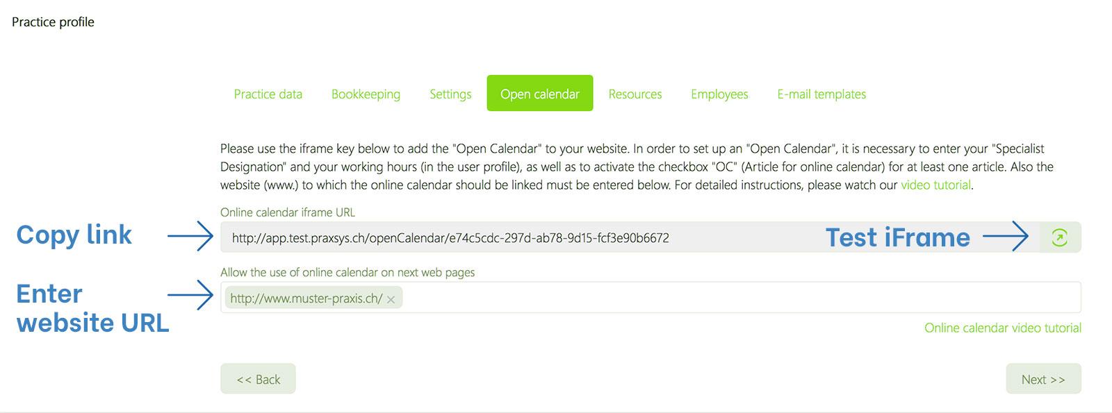 Embed online calendar in website